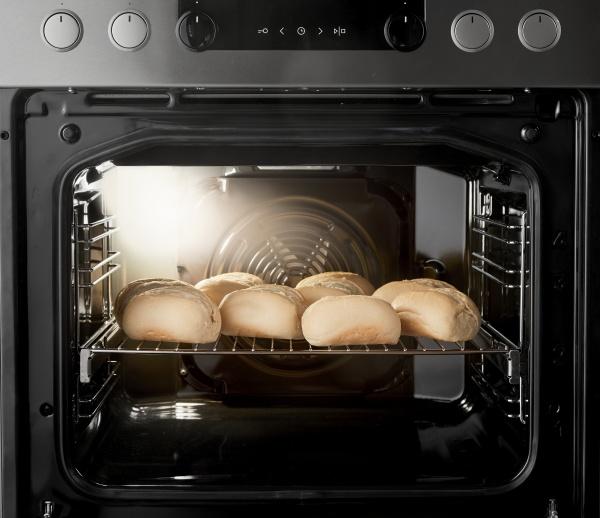 rack of baking raw buns inside