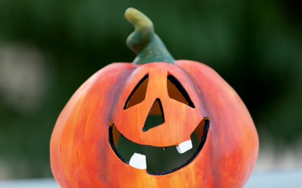 happy pumpkin outside