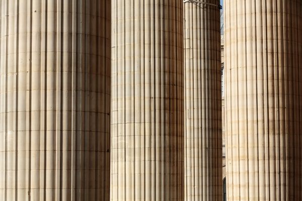 classical columns at the front of