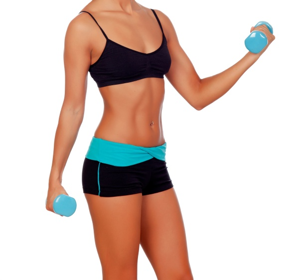 female muscular body with dumbbels