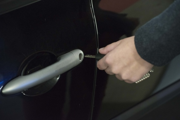 a car key to lock and