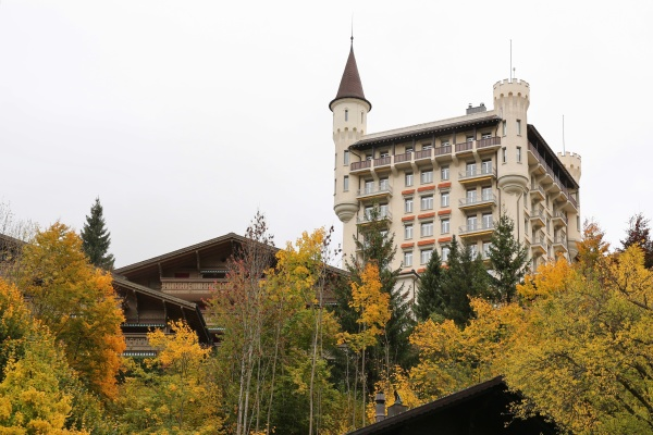 autumn scene in gstaad swiss alps