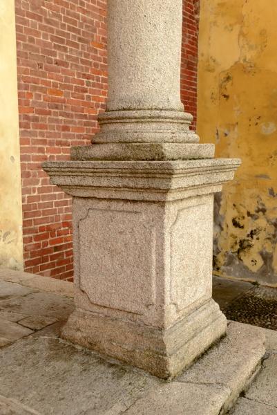 column plinth of church facade at