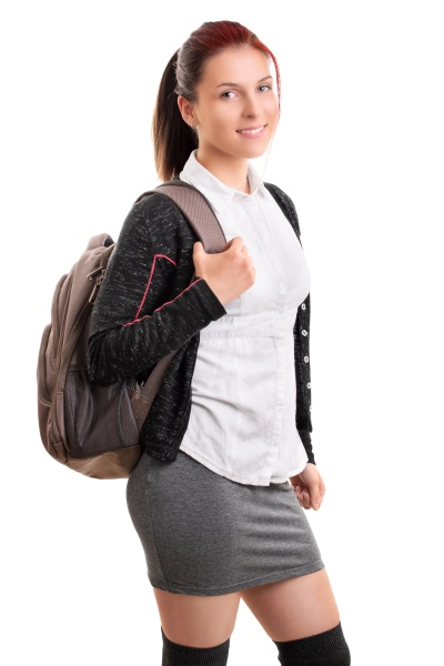 smiling young female student with backpack