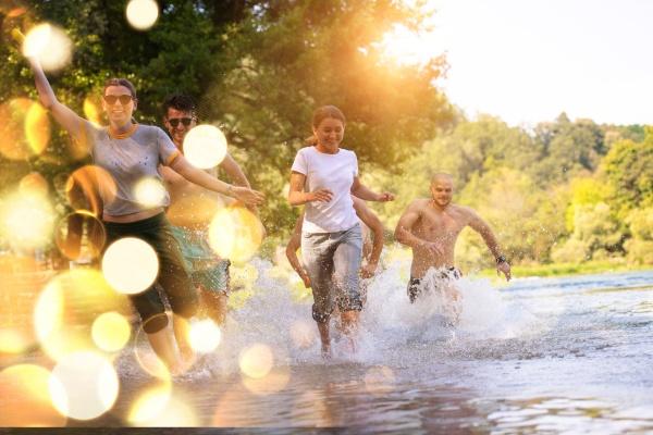 summer joy friends having fun on
