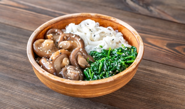 bowl with rice noodles mushrooms and
