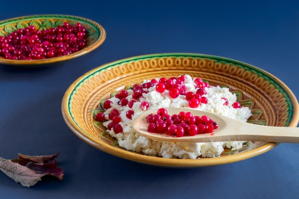 delicious cottage cheese with red currant