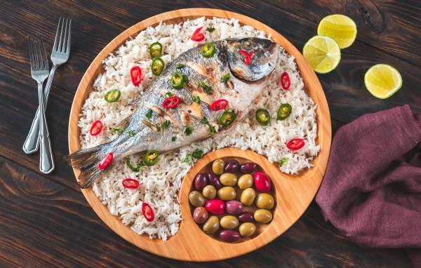 grilled fish with rice