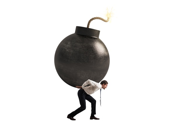 businessman hold a bomb concept of