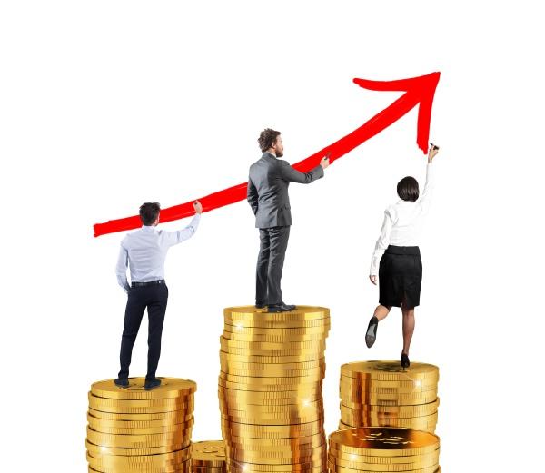 business team draws growing arrow of