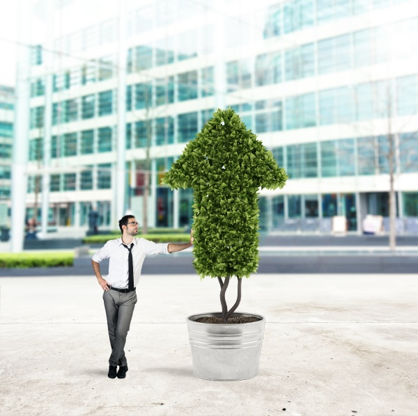 businessman that cultivates a plant with