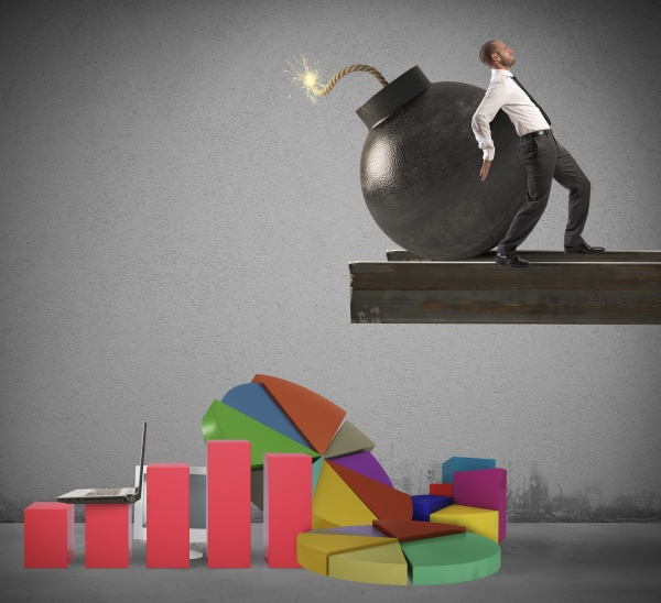 businessman stressed by economy
