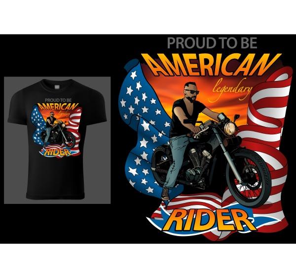 t shirt design american rider