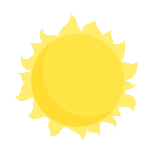 sun icon in cartoon style
