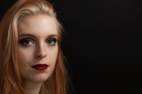 low key portrait of young woman