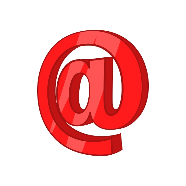 red email sign icon cartoon style