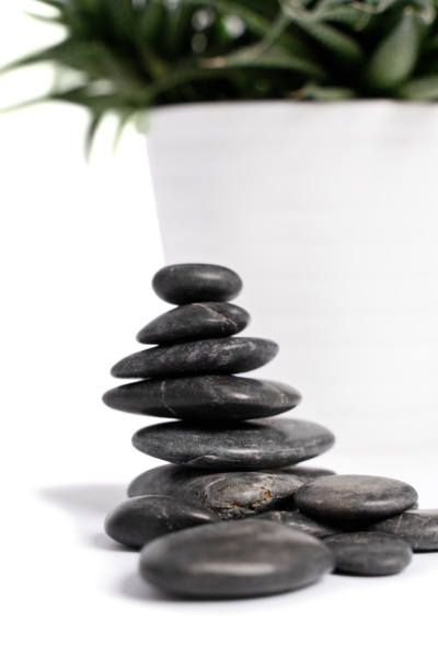 stacked zen stones with white succulent