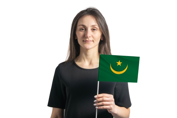 happy young white girl holding mauritania