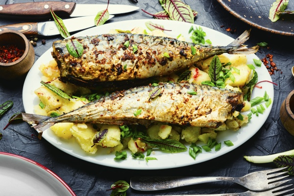 baked scomber with potatoes seafood
