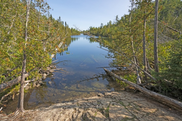 narrow lake heading into the wilderness