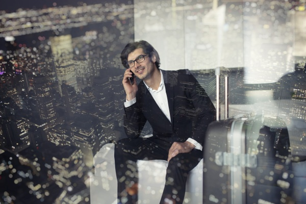 businessman at the phone ready to