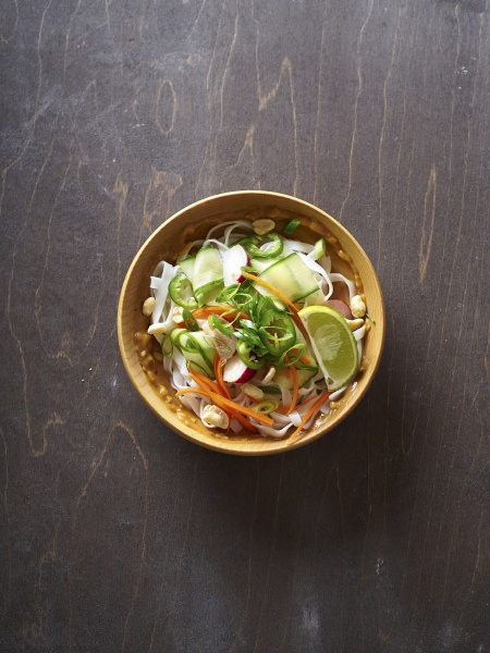top view of vegan rice noodle