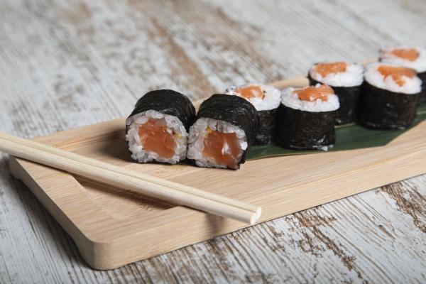 set of japanese hosomaki sushi rolls