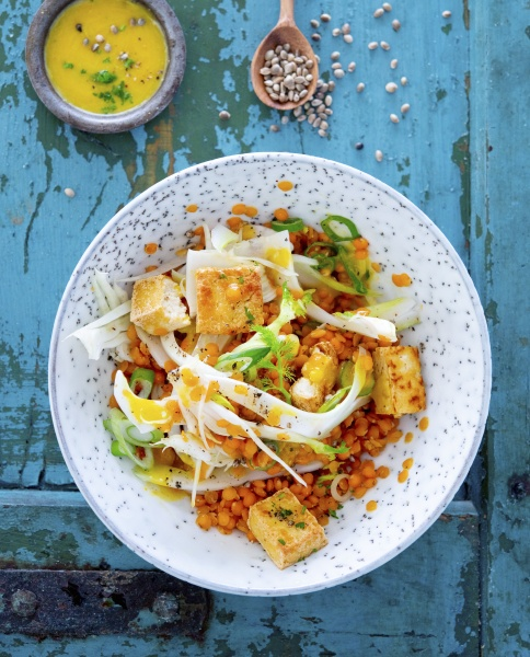 lentil salad with fennel tofu and
