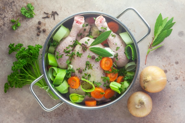 ingredients for chicken broth in a