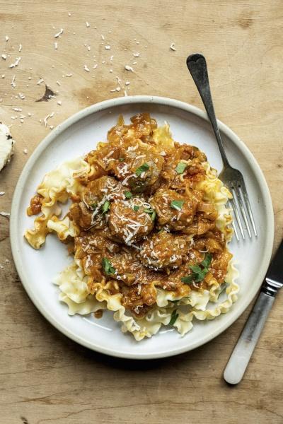 pasta with wheatballs and tomato sauce