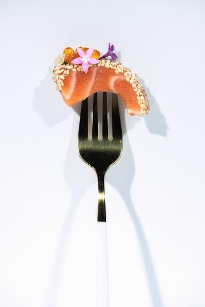 salmon sashimi with caviar and herbs