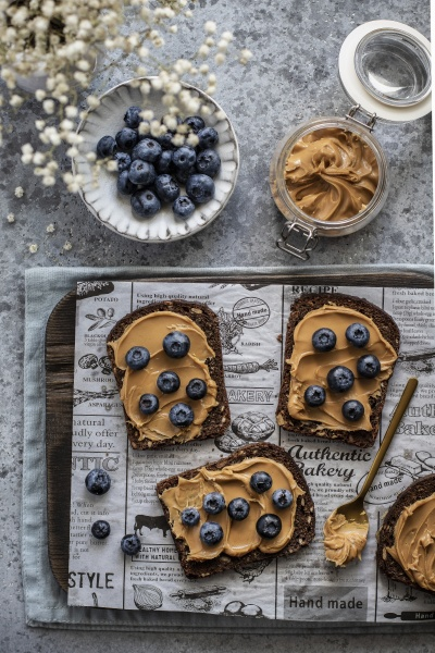 peanut butter breads with blueberries