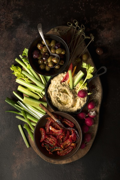 grazing platter with hummus olives