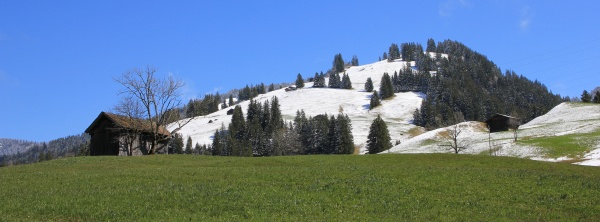 green, meadow, and, snow, covered, hill - 29881353