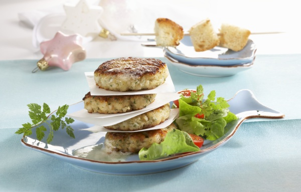 monkfish cakes with salad