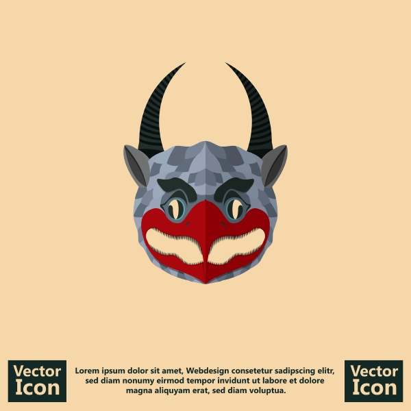 flat style tribal mask