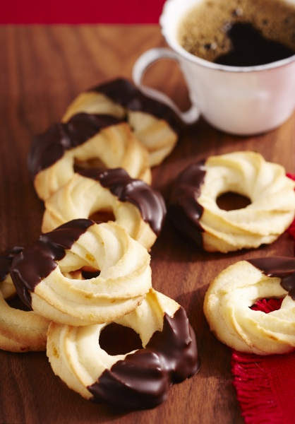 shortbread piped orange biscuits with chocolate
