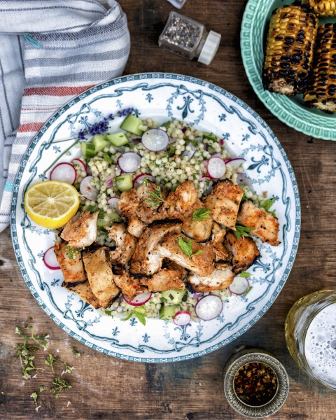 grilled chicken with couscous salad and