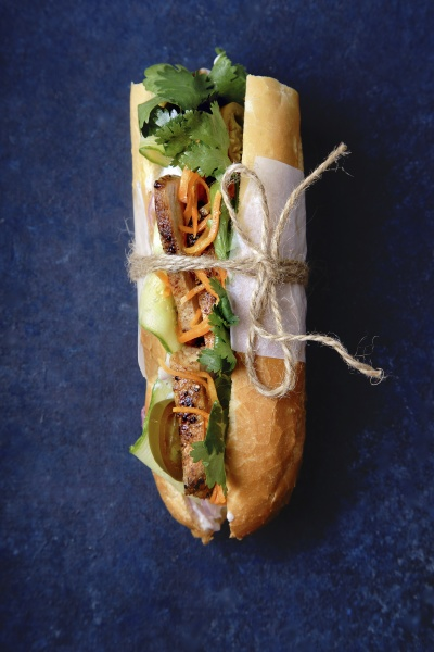 classical banh mi sandwich with grilled