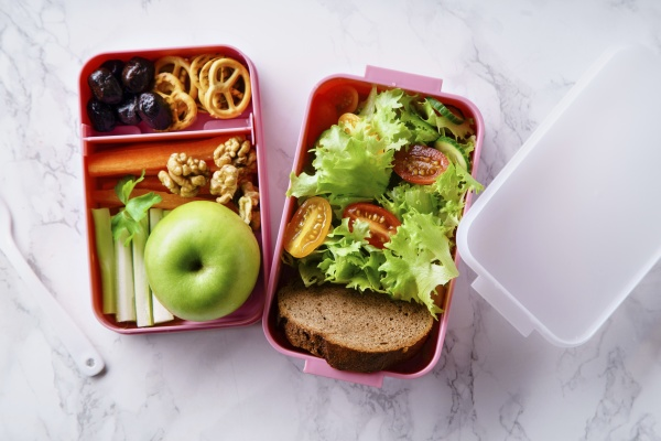 lunch box with salad and healthy