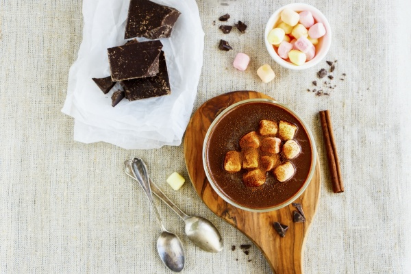 homemade hot chocolate and ingredients