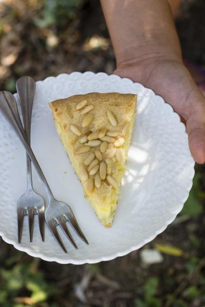 a piece of pine nut cake