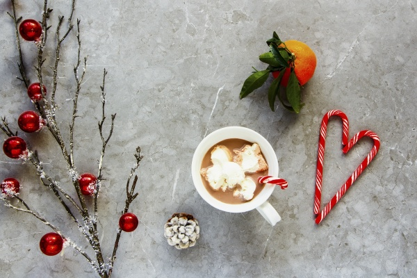 flat lay of hot chocolate with