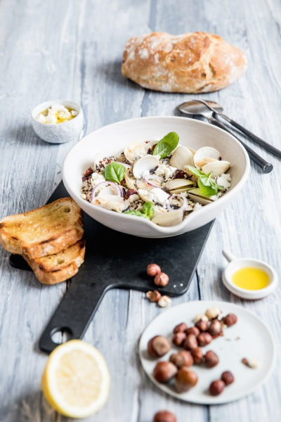 quinoa salad with clams and hazelnuts