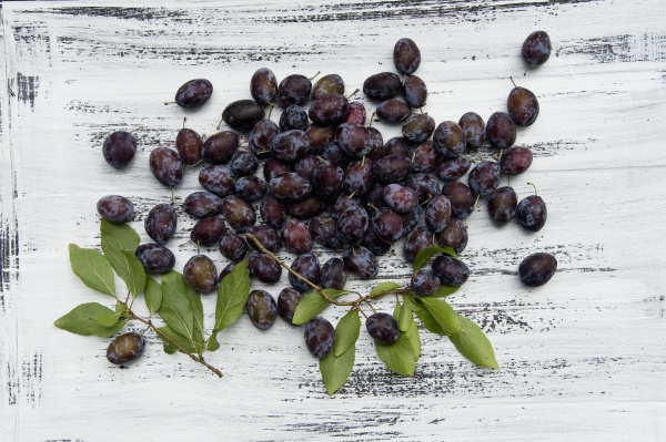 damsons with leaves on a rustic