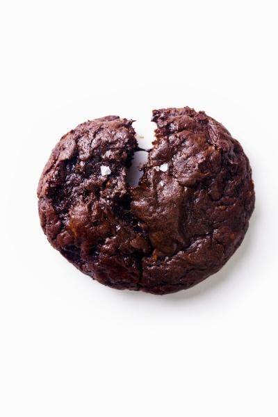 broken soft chocolate cookie with salt