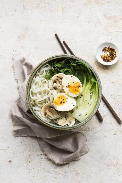 miso rice noodle bowl with pak