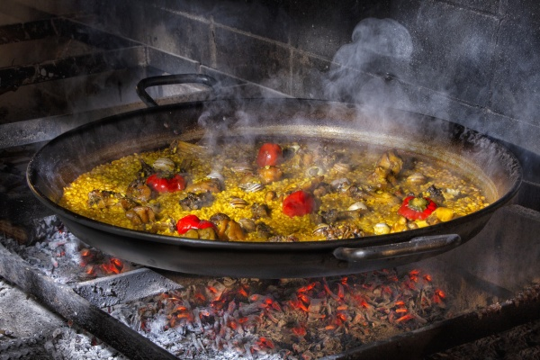 hot delicious paella with rice chicken