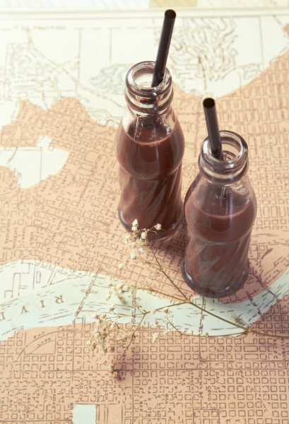 chocolate drinks on a map