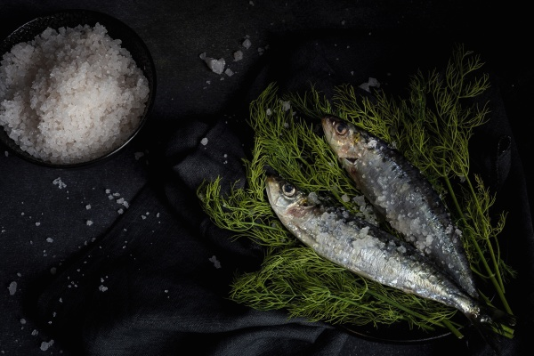 homemade salted sardines on greens on